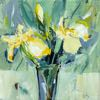Yellow Irises in a Vase